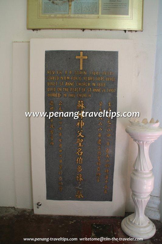 Gravestone of Father F.P. Sorin