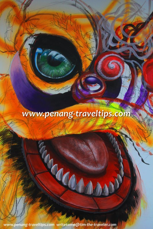 Head of the Lion, mural in progress at I-Box Glass Museum Penang