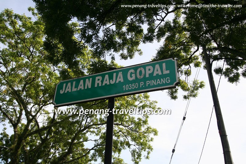 Jalan Raja Gopal road sign