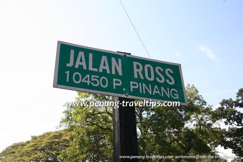 Jalan Ross road sign