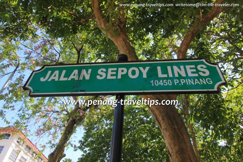 Jalan Sepoy Lines road sign