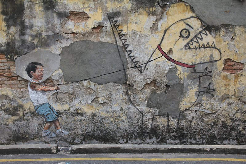 Little Boy with Pet Dinosaur Mural, Ah Quee Street, George Town, Penang