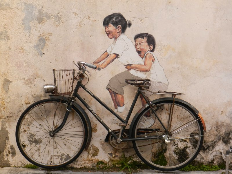 Little Children on a Bicycle Mural, Armenian Street, George Town, Penang