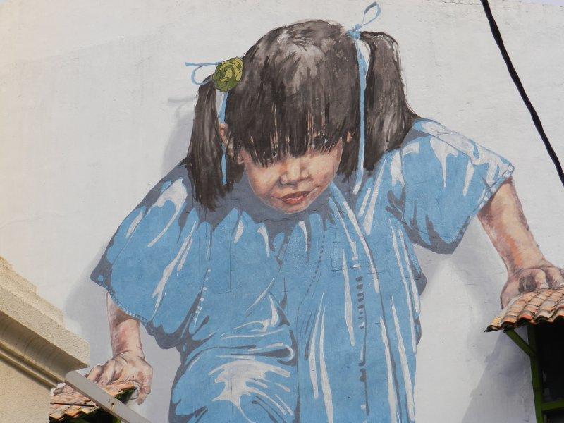 Little Girl in Blue Mural, Muntri Street, George Town, Penang
