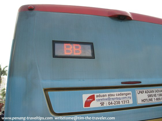 Rear signage of a BEST bus