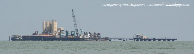 Work on the Second Penang Bridge in progress in the South Channel