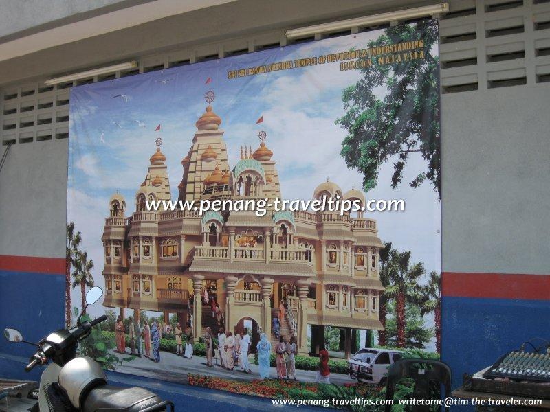 Artist impression of the Sri Sri Radha Krishna Temple under construction