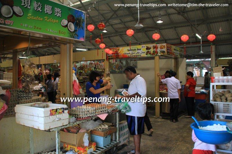 Stalls inside Air Itam Market