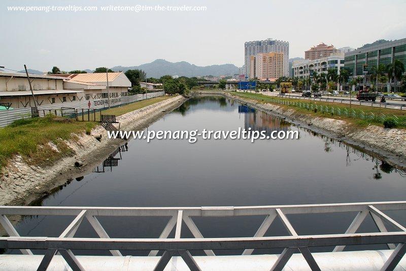 Sungai Nibong Kecil, as seen from the Bayan Baru Red Bridge