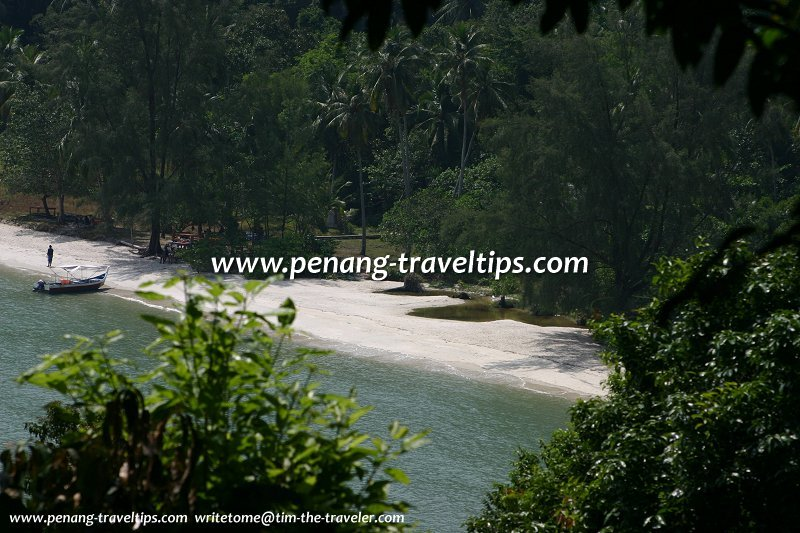 View of Teluk Duyung from path to Muka Head Lighthouse
